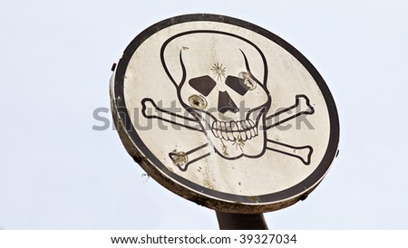 roadsign skull with bullet holes