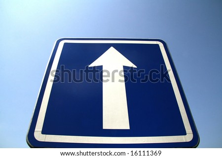 Roadsign to the sky - stock photo