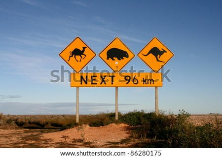 Roadsigns, Nullarbor Plain, Australia - stock photo