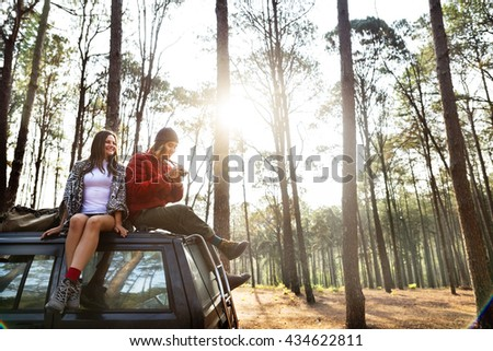 Roadtrip Camping Friendship Camera Couple Concept - stock photo