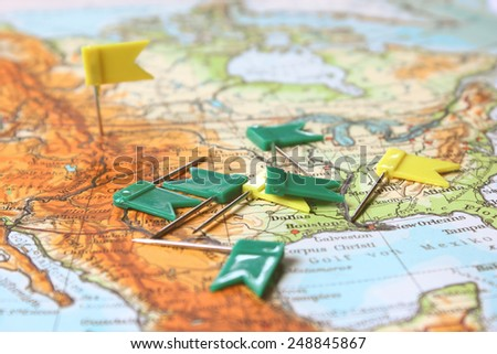 Roadtrip planning background map flag pins stock photo royalty free roadtrip planning background map with flag pins gumiabroncs Images