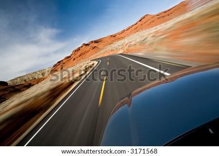 roadtrip through northern Wyoming, motion blur as shot - stock photo