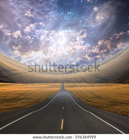 Roadway and countryside - stock photo