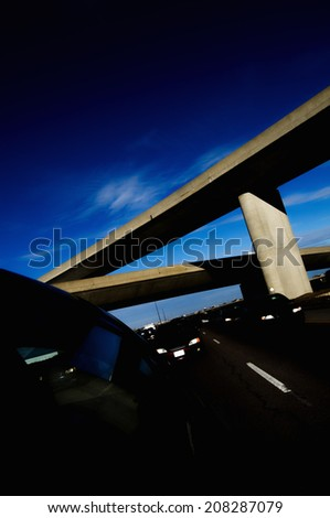 Roadway junction and overpass - stock photo