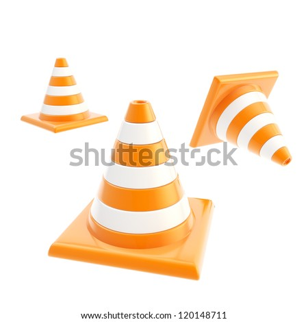 Roadworks orange cone composition isolated on white background - stock photo