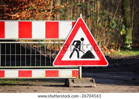 Roadworks sign (under construction, men at work) - stock photo