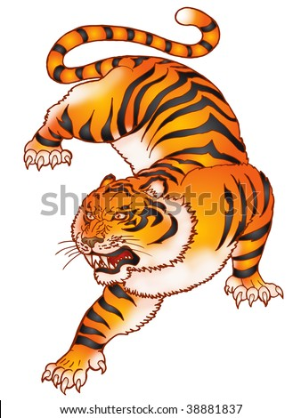 roar of the hideous  tiger ,  colored freehand - stock photo