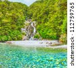 Roaring Billy Falls (Haast Pass, South Island, New Zealand) - stock photo