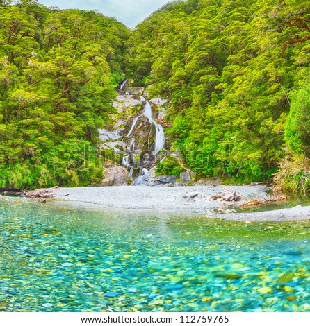 Roaring Billy Falls (Haast Pass, South Island, New Zealand) - stock photo
