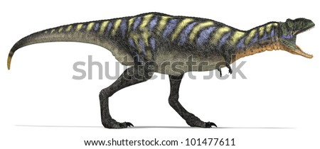 Roaring Carnivore Dinosaur from side - stock photo