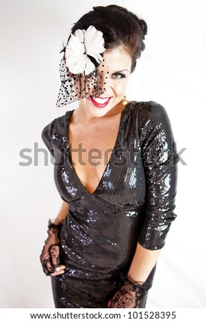 Roaring 20's Flapper Party Gal - stock photo