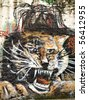 Roaring Tiger - Street side wall painting on white wall from Macau China - stock photo