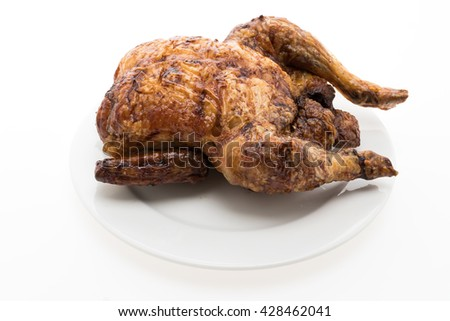 Roast and grill chicken meat on white plate isolated on white background