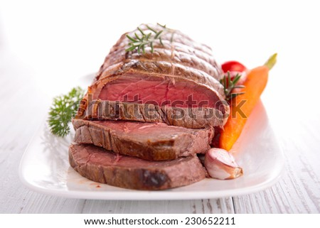 roast beef and vegetables - stock photo