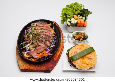 Roast beef, cut into pieces - stock photo