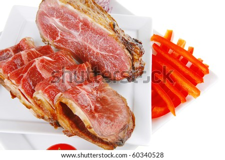 roast beef meat rolls and chunk on white platter