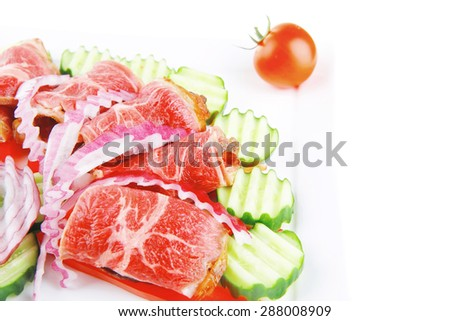 roast beef meat rolls on white platter - stock photo