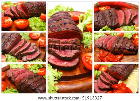 roast beef meat served with peppers and tomatoes - stock photo