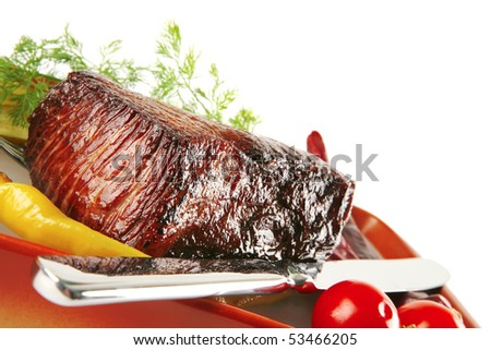 roast beef meat with tomatoes and peppers - stock photo