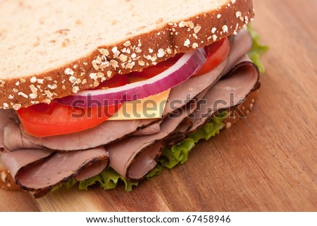 Roast beef sandwich with all the fixings - stock photo