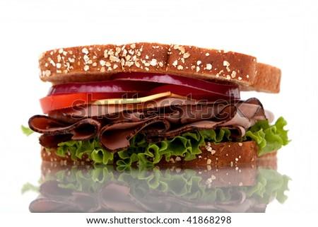Roast beef sandwich with whole wheat bread - stock photo