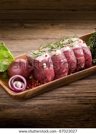 roast beef with ingredients ready to cooking - stock photo