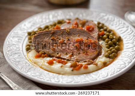 Roast Beef With Mashed Potatoes and Peas - stock photo
