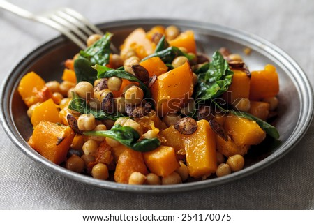 Roast butternut squash and chickpeas  - stock photo