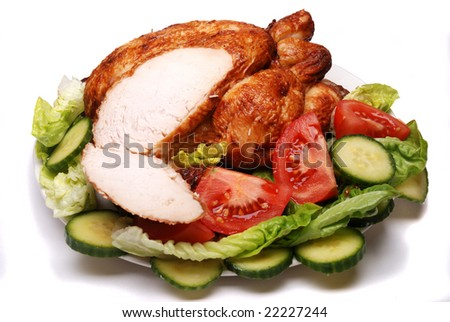 Roast chicken and salad on a plate
