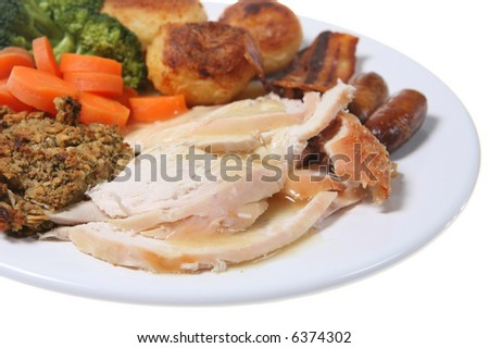 Roast Chicken Dinner with stuffing and vegetables