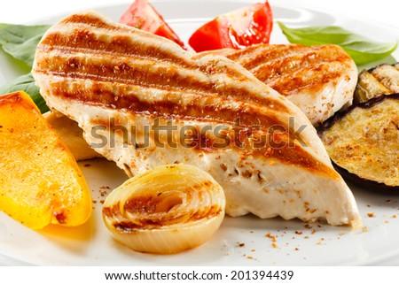 Roast chicken fillets  - stock photo