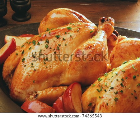 roast chicken  isolated on a white background - stock photo