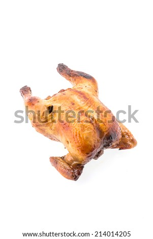 Roast chicken isolated on white