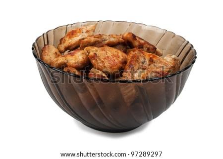 roast chicken on white background - stock photo