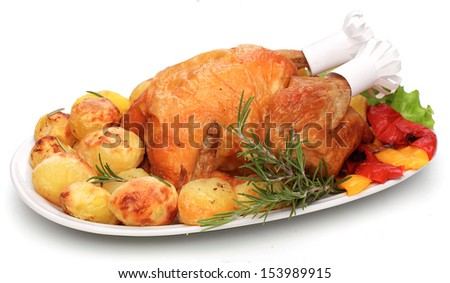 Roast chicken on white dish