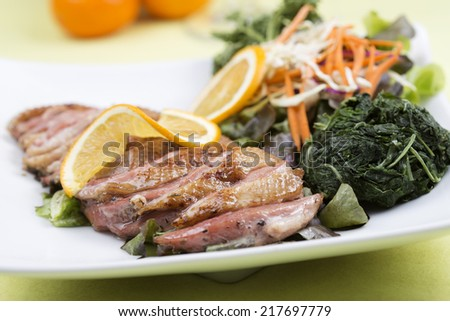 Roast Duck Breast with Orange sauce and Vegetable