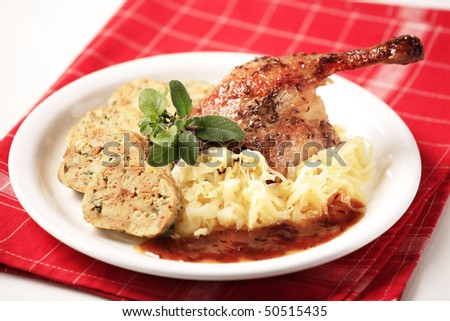 Roast Duck, Cabbage and  Bread  Dumplings - stock photo