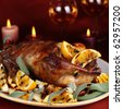 Roast duck with orange, anise and ginger - stock photo