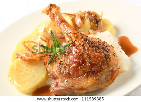 Roast duck with potato dumplings and white cabbage  - stock photo
