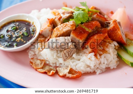 roast duck with rice at restaurant in thailand. - stock photo