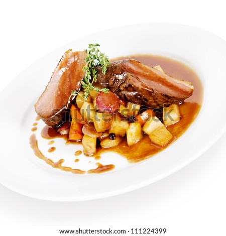 roast duck with vegetables - stock photo