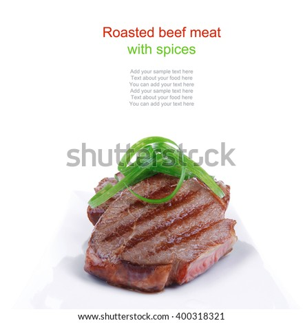 roast meat beef fillet strips on white plate isolated over white background - stock photo