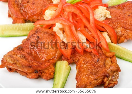 Roast meat closeup with fresh vegetable - stock photo
