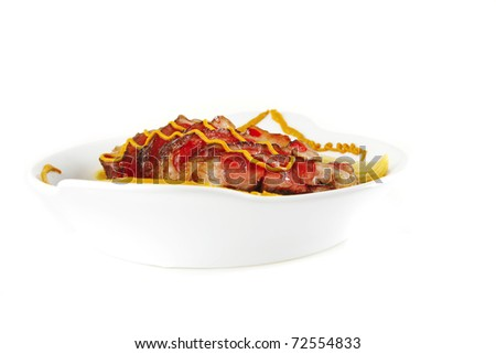roast meat served with beans and mustard - stock photo