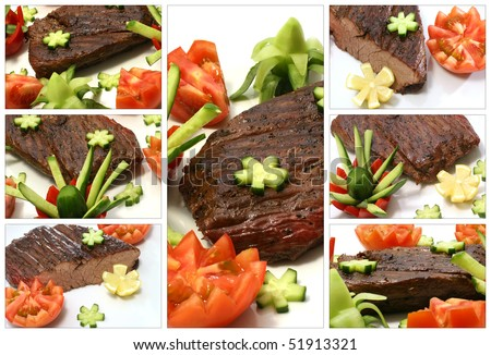 roast meat served with vegetables on white plate - stock photo