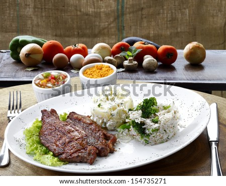 Roast meat with vegetables