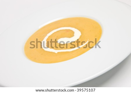 Roast pepper soup with cream - stock photo