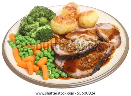 Roast pork dinner - stock photo