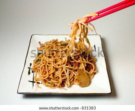 Roast Pork Lo Mein - stock photo