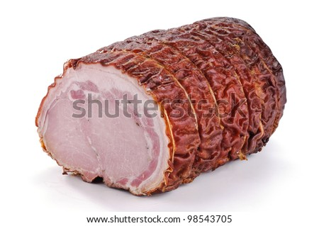 Roast pork on white background